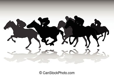 course chevaux, silhouettes