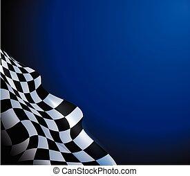 course, conception, fond, drapeau checkered