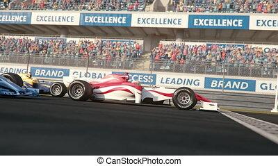 course, conduite, formule, sur, trois, ligne, côté,...