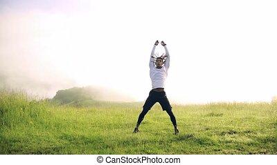 course, exercice, jeune, nature., homme, pré, mélangé, dehors