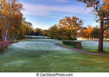 course., farben, golfen, herbst