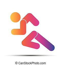 course, gens, simple, symbole, isolé, arrière-plan., courant, blanc