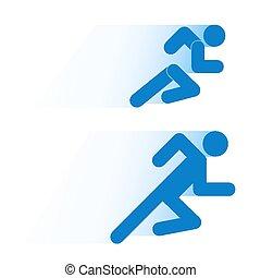 course, gens, simple, symbole, motion., isolé, arrière-plan., courant, blanc