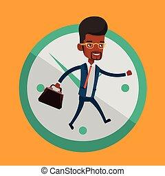course homme affaires, arrière-plan., horloge