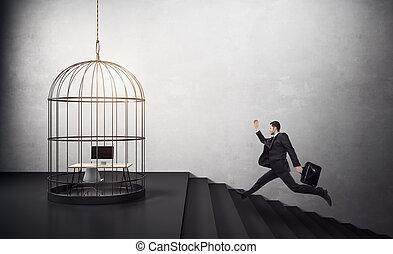 course homme affaires, cage d'oiseaux