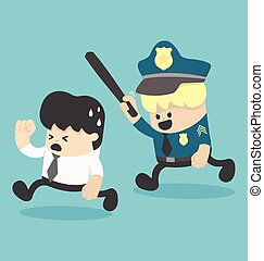 course homme affaires, concept, police, loin
