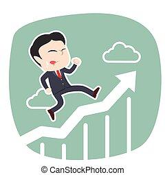 course homme affaires, graphique, asiatique, élévation