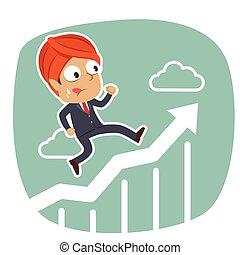 course homme affaires, graphique, indien, élévation