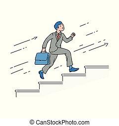course homme affaires, haut, dessin animé, escaliers.