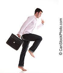 course homme affaires, serviette, isolé