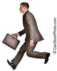 course homme affaires, serviette