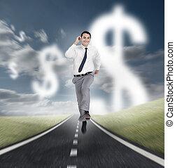 course homme affaires, sur, a, route, à, dollars, flotter