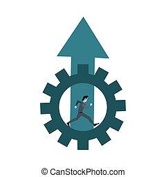 course homme affaires, travail, engrenage, flèche