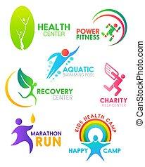 course, icônes, gens, vecteur, santé, fitness, sport