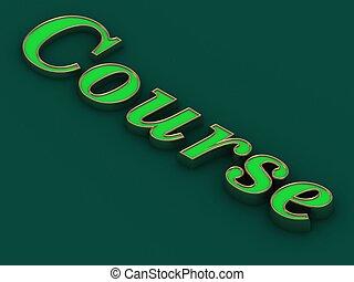 Course - inscription of golden letters