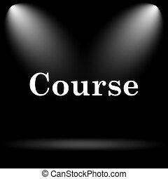 Course. Internet button on black background.