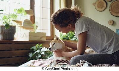 course, jeune, chambre à coucher, animaux, aimable, mélangé...