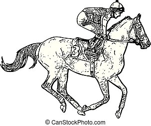 course, jockey, équitation, dessin, cheval