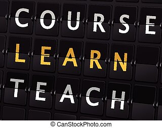 course learn teach words on airport board
