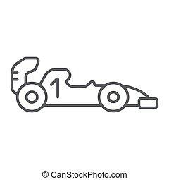 course, linéaire, signe, voiture, automobile, 1, arrière-plan., vecteur, mince, modèle, graphiques, icône, ligne, sport, formule, blanc