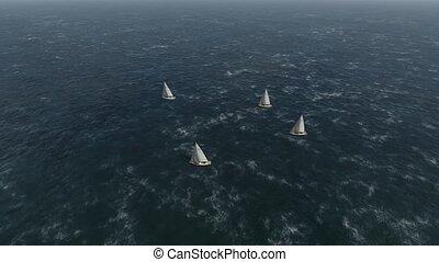 course, mer, voile, regatta.