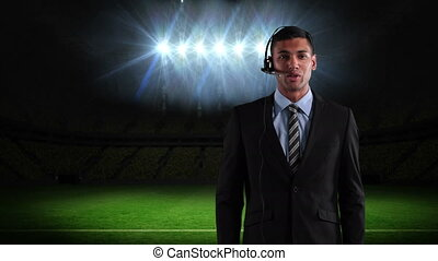 course, présentateur, mélangé, jeune, football