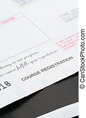 course registration receipt close up shot