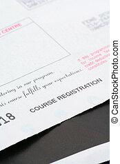 course registration receipt close up shot