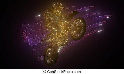 courses, cavalier, laser, animation, vélo, moteur