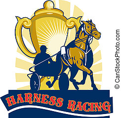courses, chariot cheval, tasse, harnais