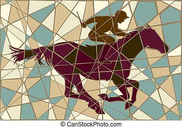 courses chevaux, mosaïque