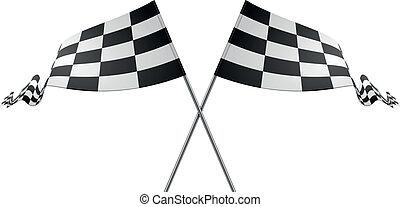 courses, drapeaux