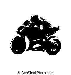 courses, drawing., isolé, silhouette, vecteur, motocyclette, encre, moto, côté, route, vue