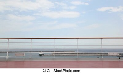 courses, femme, pont, bikini, bateau croisière