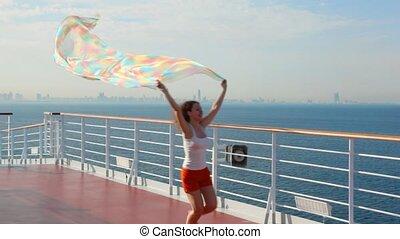 courses, femme, tissu, bateau, pont