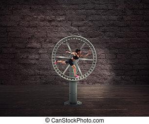 courses, femme, wheel., athlétique, faire boucle, concept, routine, sport