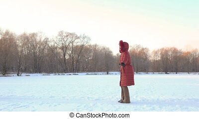 courses, fille, champ neige, elle, mère