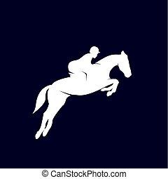courses, gabarit, conception, logo, cheval