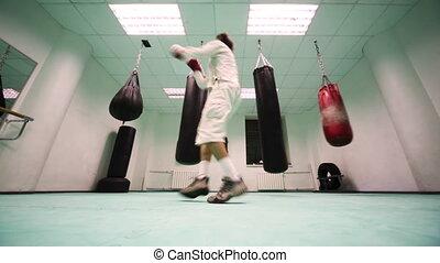courses, poinçons, boxe, air, gymnase, gants, part5, homme