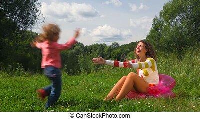 courses, séance, gonflable, mère, peu, siège, embrasser,...