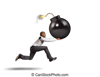 courses, sien, bombe, business, danger, grande main, homme