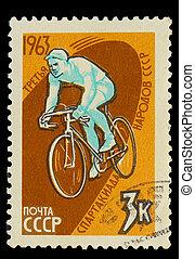 courses, troisième, timbre, urss, athlète, -, vélo, 1963, urss, jeux olympiques, imprimé, environ, promenades, 1963:, cycle