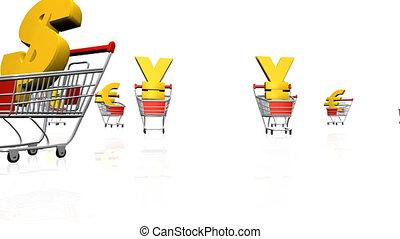 courses, troll, monnaie, achats