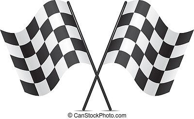 courses, vecteur, drapeaux