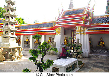 Court at the temple Wat Phra Chetup