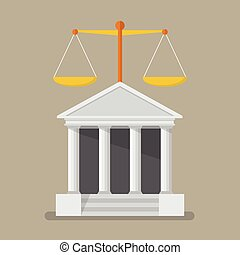 Court building with scales of justice. Flat style vector...