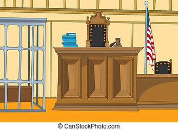 Court Cartoon - Law Court. Cartoon Background. Vector...