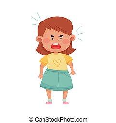 court, crier, projection, illustration, colère, chevelure, ...