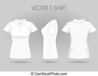 court, gaine chemise, dos, views., femmes, réaliste, femme, vide, polo, blanc, devant, t-shirts, côté