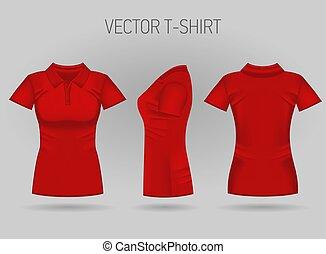 court, gaine chemise, dos, views., femmes, réaliste, rouges, femme, vide, polo, devant, t-shirts, côté